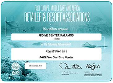 Gidive obté la certificació de PADI com a centre 5*