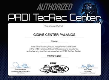 Gidive obté la certificació de Centre PADI TecRec